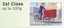 Post & Go : Royal Mail Heritage : Mail by Bike 1st Stamp (2018) Tricycle and basket, 1920
