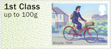 Post & Go : Royal Mail Heritage : Mail by Bike 1st Stamp (2018) Bicycle, 1949