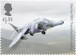 British Engineering £1.55 Stamp (2019) Harrier GR3: Transition to Landing