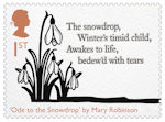 The Romantic Poets 1st Stamp (2020) Ode to the Snowdrop by Mary Robinson