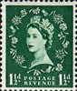 Wilding Definitive 1.5d Stamp (1952) green