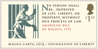 Magna Carta £1.33 Stamp (2015) American Bill of Rights, 1791