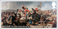 The Battle of Waterloo 1st Stamp (2015) Waterloo - The Scots Greys during the charge of the Union Brigade