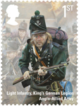 The Battle of Waterloo 1st Stamp (2015) Light Infantry, King's German Legion