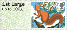 Post & Go : Winter Fur & Feathers 1st Stamp (2015) Red Squirrel