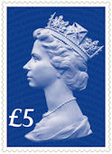 65th Anniversary of the Accession of HM The Queen £5 Stamp (2017) Sapphire Blue