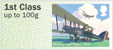 Post & Go : Royal Mail Heritage : Mail by Air 1st Stamp (2017) Military mail flight, 1919