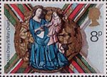 Christmas 8p Stamp (1974) Virgin and Child (Ottery St mary Church, c 1350)
