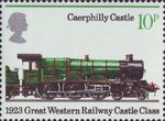 Railways 1825-1975 10p Stamp (1975) Caerphilly Castle, 1923