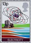Energy 13p Stamp (1978) Electricity - Nuclear Power Station and Uranium Atom
