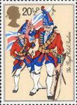 The British Army 20.5p Stamp (1983) Fusilier and Ensign, The Royal Welch Fusiliers (mid-18th century)
