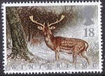 The Four Seasons. Wintertime 18p Stamp (1992) Fallow Deer in Scottish Forest