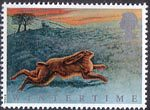The Four Seasons. Wintertime 24p Stamp (1992) Hare on North Yorkshire Moors