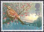 The Four Seasons. Wintertime 33p Stamp (1992) Redwing and Home Counties Village