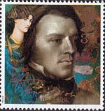 Tennyson  39p Stamp (1992) Tennyson as a Young Man and Mariana (Dante Gabriel Rossetti)