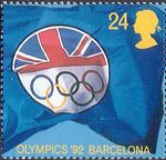 Europa. International Events 24p Stamp (1992) British Olympic Association Logo (Olympic Games, Barcelona)
