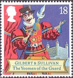 Gilbert and Sullivan 18p Stamp (1992) The Yeomen of the Guard