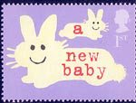 Occasions 2002 1st Stamp (2002) Rabbits (' a new baby')