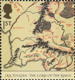 The Lord of the Rings 1st Stamp (2004) Map showing Middle Earth