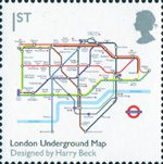 Design Classics 1st Stamp (2009) London Underground Map by Harry Beck