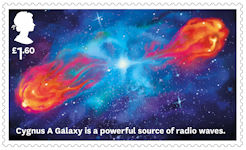 Visions of the Universe £1.60 Stamp (2020) Cygnus A Galaxy