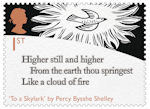 The Romantic Poets 1st Stamp (2020) To a Skylark by Percy Bysshe Shelley